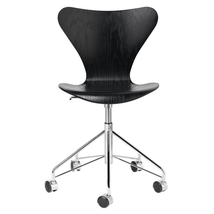 Chaise de bureau série 7 de Fritz Hansen en chrome / noir cendré