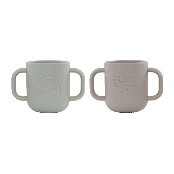 Le mug pour enfants Kappu avec poignée de OYOY , argile / menthe pâle (lot de 2)