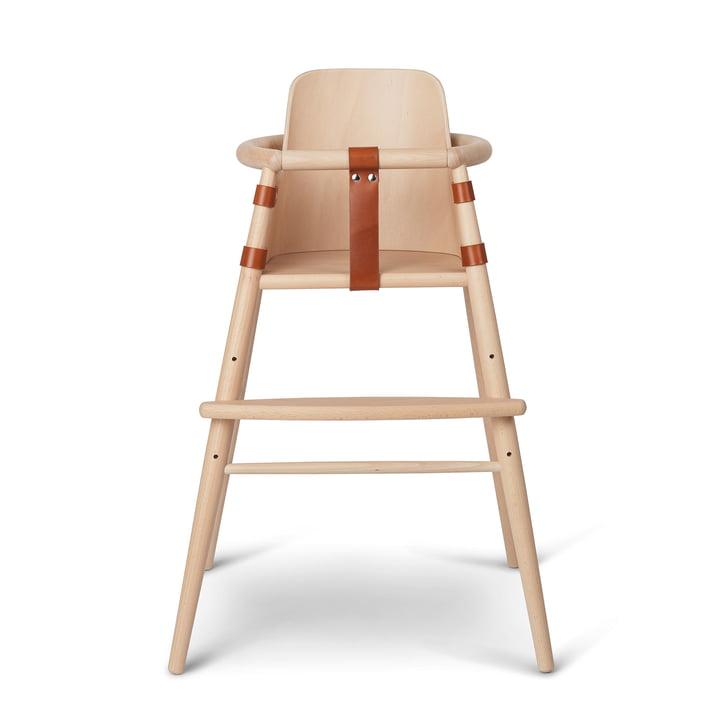 Le dossier de la chaise pour la chaise haute pour enfants ND54 de Carl Hansen , hêtre laqué mat / cognac