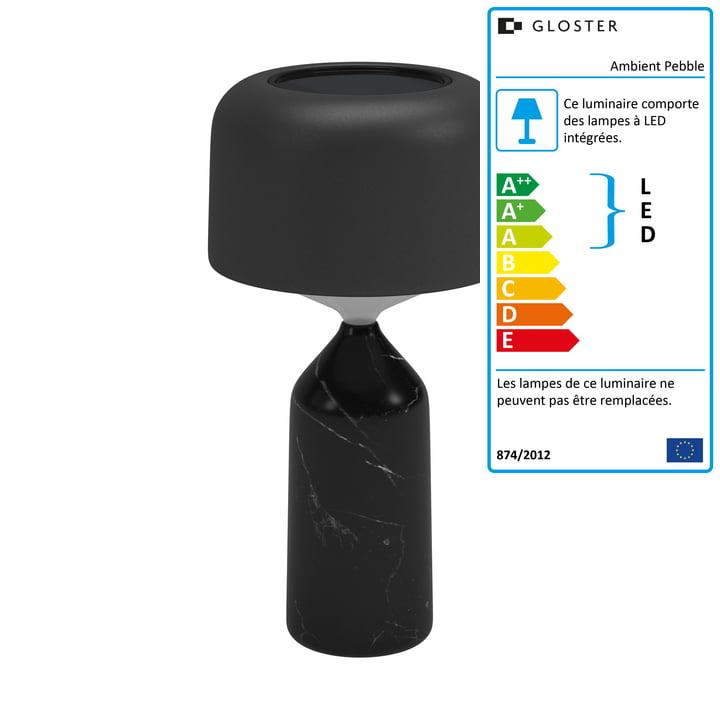 La lampe de table rechargeable Ambient Pebble de Gloster en carbone / météore