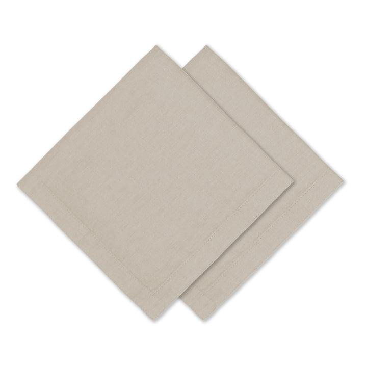 Connox Collection - Serviette de table en lin, 45 x 45 cm, lot de 2, nature
