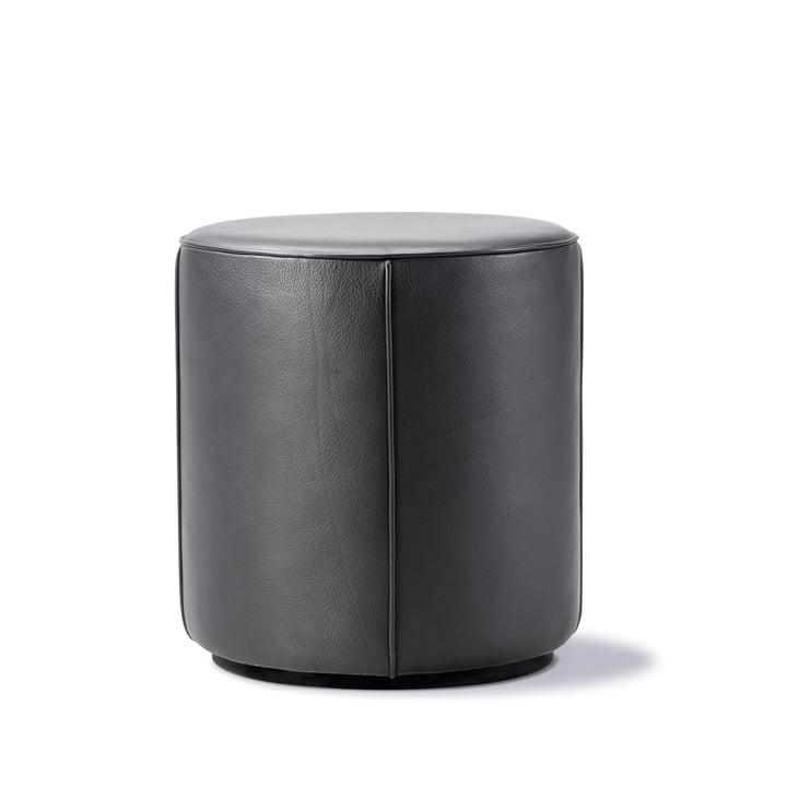 Mono Pouf Ø 39 cm de Fredericia en cuir 301 noir