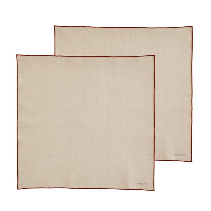 Les serviettes en tissu Organic de Södahl , 50 x 50 cm, crème / amber (lot de 2)