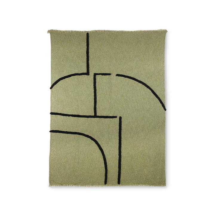 La couverture à rayures de HKliving , 130 x 170 cm, vert / noir