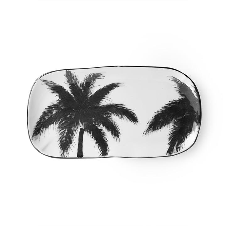 Le site Bold & Basic Plat de service en céramique de HKliving , 25 x 13,5 cm, blanc / motif palmier
