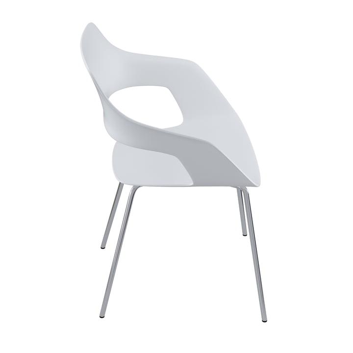 La chaise Occo 222/10 de Wilkhahn , chrome / blanc