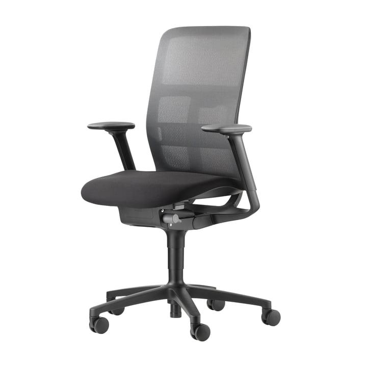Le fauteuil pivotant de bureau AT 187/71 Mesh de Wilkhahn , noir