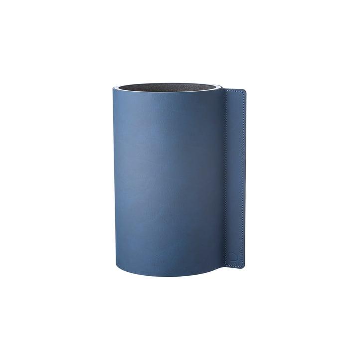 Vase bloc S Ø 7,5 x 15 cm de LindDNA en Nupo bleu nuit / verre