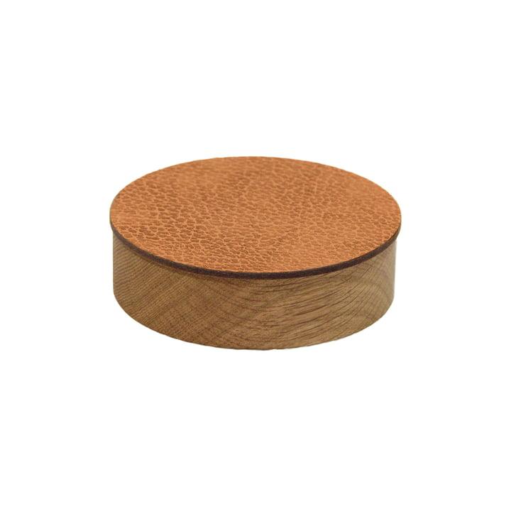 Wood Box avec couvercle rond S Ø 11 cm de LindDNA en chêne nature / nature