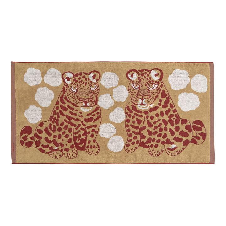La serviette de bain Kaksoset de Marimekko, 70 x 150 cm, beige / bordeaux (automne 2021)