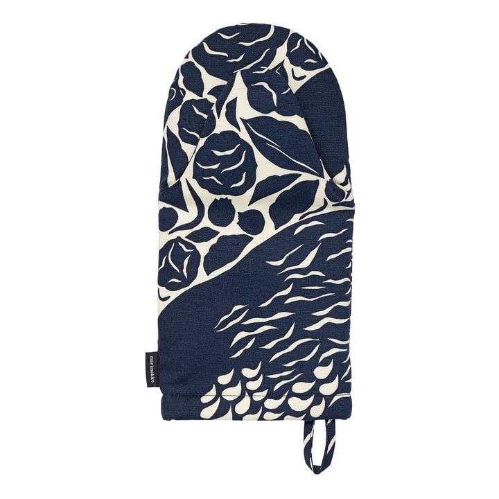Le gant de cuisine Pieni Karhuemo de Marimekko , beige clair / bleu foncé (automne 2021)
