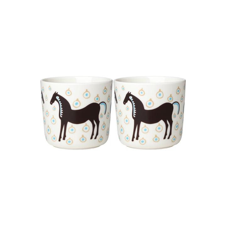 Le mug Musta Tamma (lot de 2) de Marimekko, 200 ml, blanc / brun foncé / beige (automne 2021)