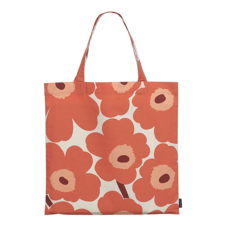 Le site Pieni Unikko Sac shopping Marimekko, lin / orange / bordeaux (automne 2021)