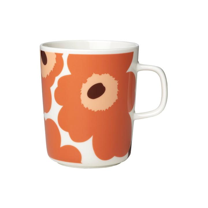 Marimekko - Oiva Unikko Mug avec anse 250 ml, blanc / abricot / brun foncé (automne 2021)