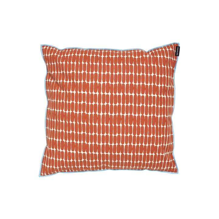 La taie d'oreiller Alku de Marimekko, 40 x 40 cm, coton blanc / brun (automne 2021)