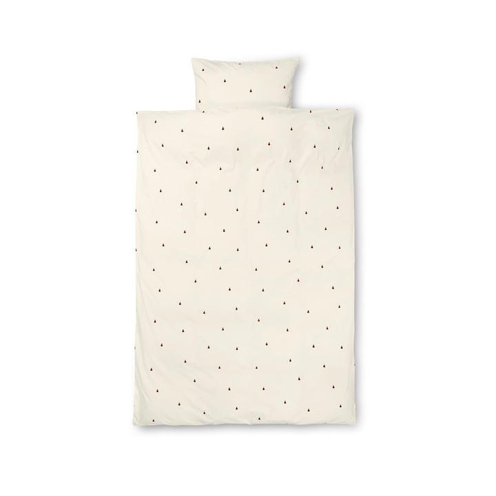 Linge de lit pour enfants Pear 100 x 140 cm de ferm Living en blanc cassé / rouge cannelle