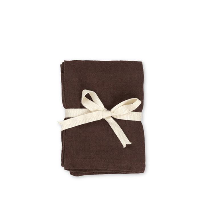 Serviettes de table en lin 45 x 45 cm de ferm Living en chocolat (lot de 2)