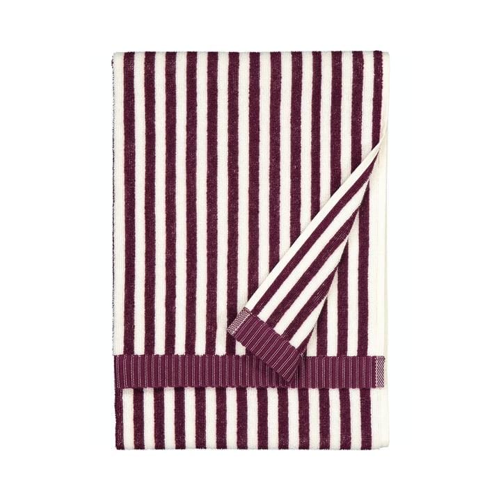 La serviette Ujo de Marimekko, 50 x 70 cm, blanc / mûre