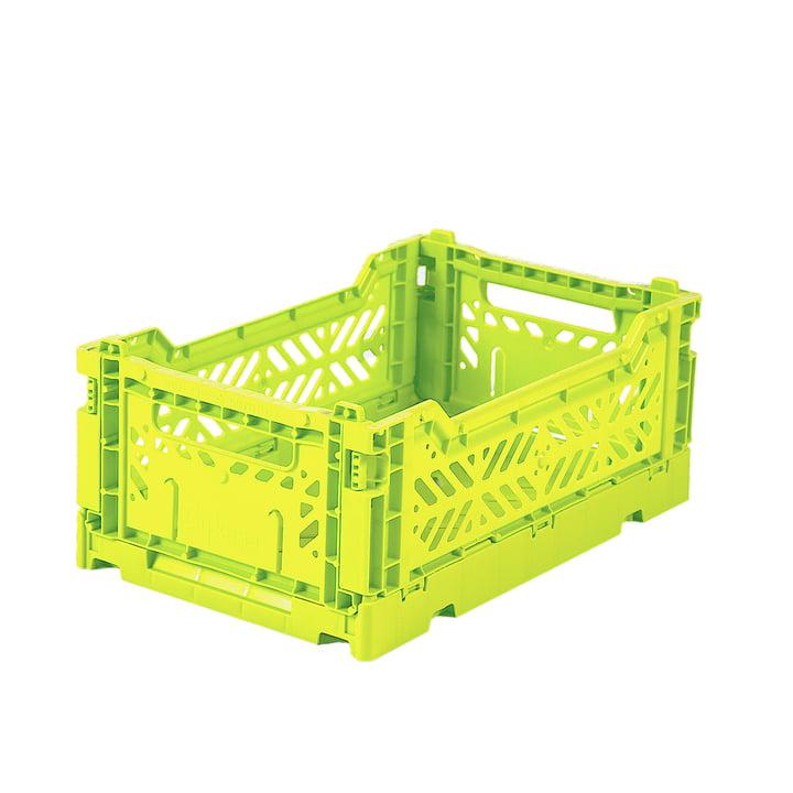 Boîte pliante mini 27 x 17 cm de Aykasa in acid yellow