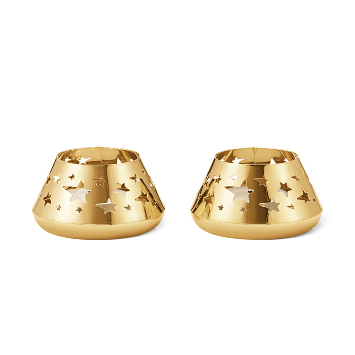 The Christmas Collectibles Seasonal Classic Tealight Holder Star by Georg Jensen , gold (set of 2)