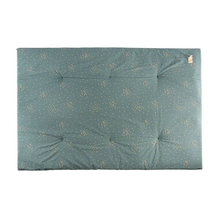 Eden Futon Tapis de jeu 100 x 148 cm de Nobodinoz dans gold confetti / magic green