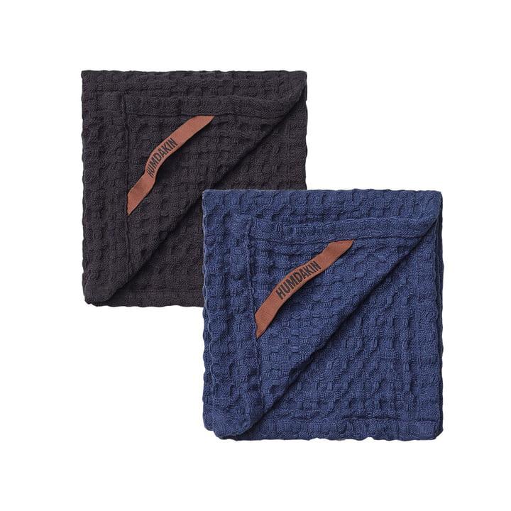 Le linge à vaisselle texturé gaufré Humdakin, 28 x 28 cm, coal & sea blue