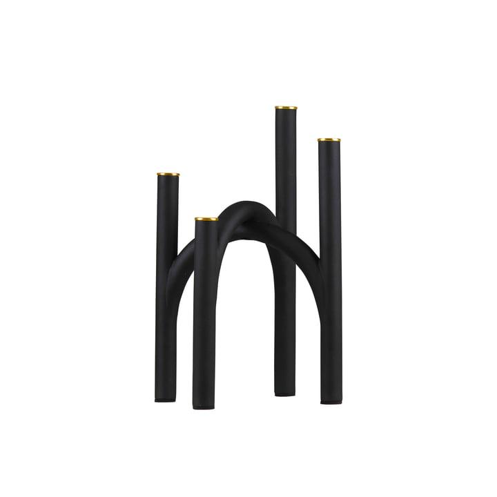 Le bougeoir Angui de AYTM , 22,8 x 22,8 x 34 cm, noir / or.