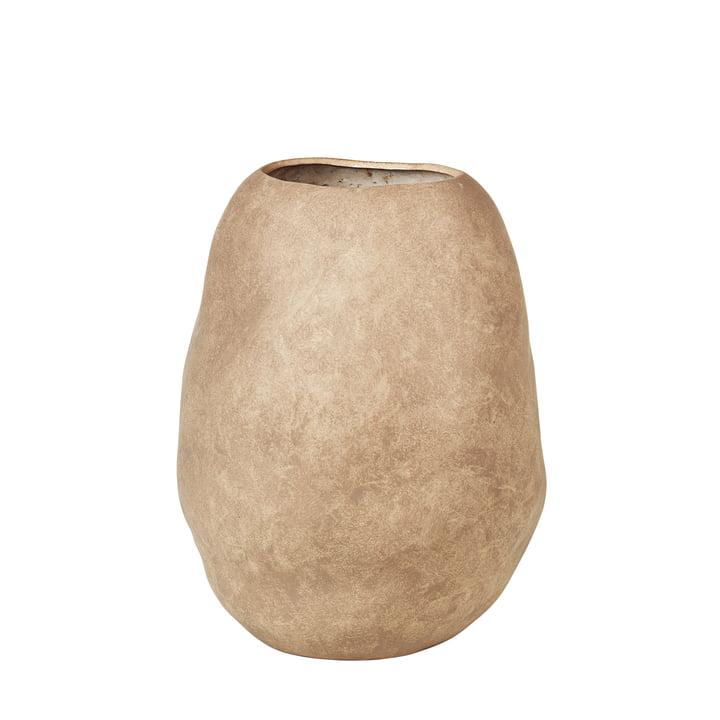 Organic Vase, H 43 cm de Broste Copenhagen en taupe simple