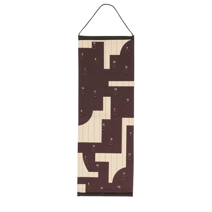 Broste Copenhagen - Karla Calendrier de l'Avent, 35 x 100 cm, chocolat décadent