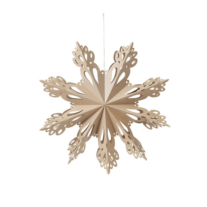 Broste Copenhagen - Christmas Snowflake Pendentif décoratif, Ø 30 cm, brun nature
