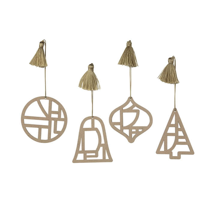 Broste Copenhagen - Christmas Fili Pendentif décoratif, Ø 8 cm, brun nature (jeu de 4)