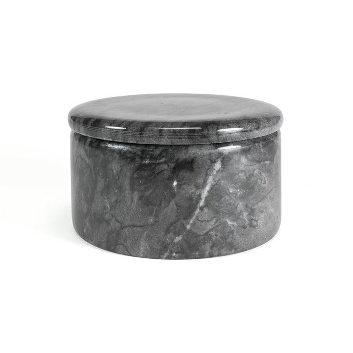 Rangement en marbre avec couvercle, gris foncé, 12 cm / H 7 cm par yunic
