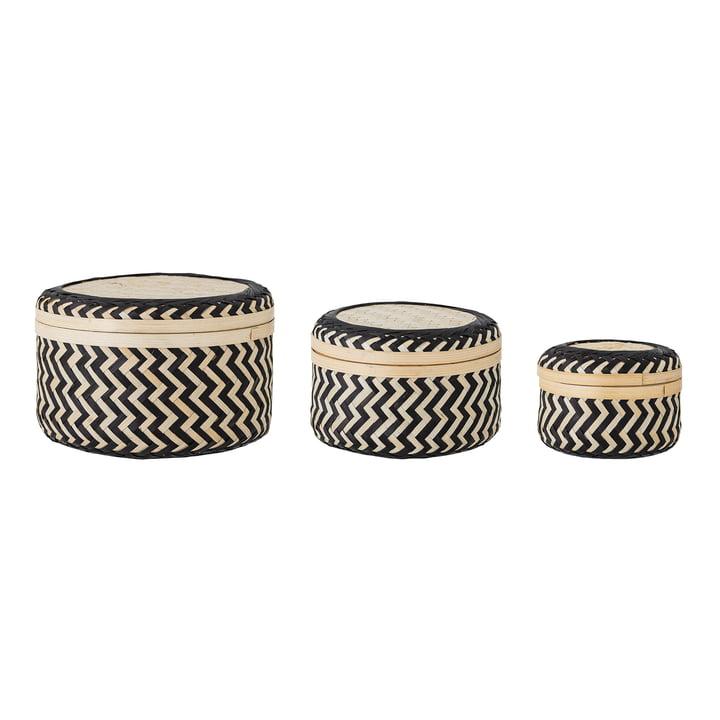 Les paniers de rangement en bambou (lot de 3) de Jacob de Bloomingville dans la couleur noire