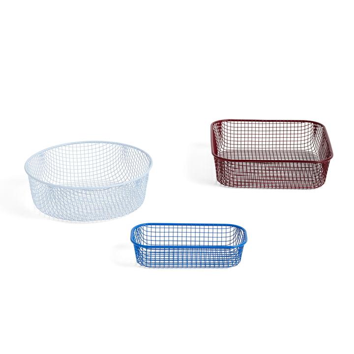 Trinkets Baskets de Hay dans un jeu de 3 dans la combinaison de couleurs bleu, bleu clair, rouge foncé