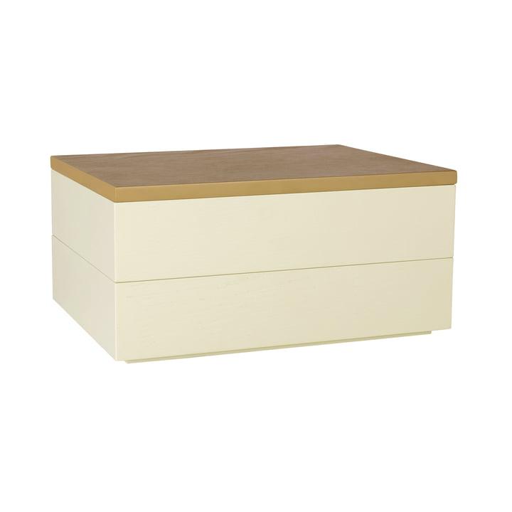 Boîte de rangement avec couvercle, brun clair / jaune par Hübsch Interior