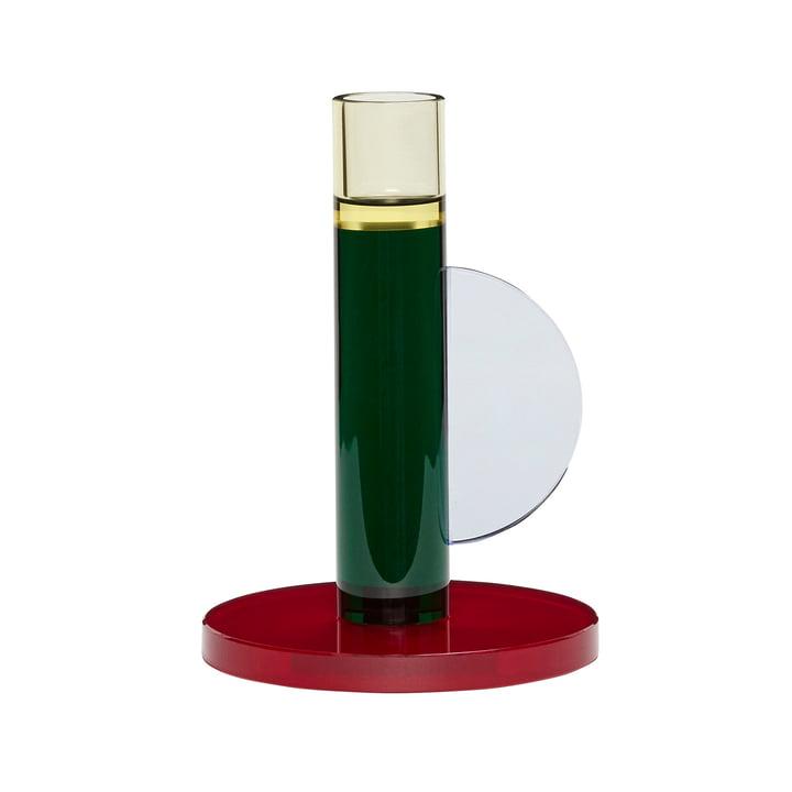 Bougeoir en cristal, rouge foncé / vert par Hübsch Interior