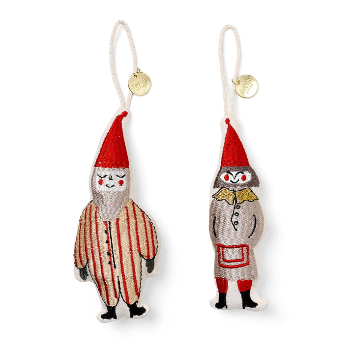 ferm Living - Paire de pendentifs décoratifs Elfes, rayés (lot de 2)