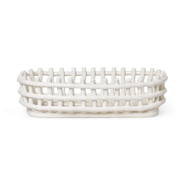 Panier en céramique ovale de ferm Living dans la couleur off-white