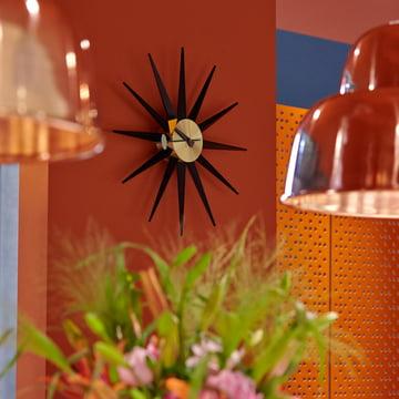 Vitra - Sunburst Clock, noir / laiton