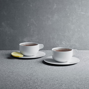 Georg Jensen - Tasses à thé avec soucoupes Tea with Georg en lot de 2
