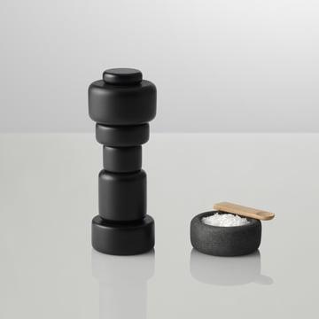 Muuto - moulin à sel / poivre « Plus », noir avec de petits récipients de sel One