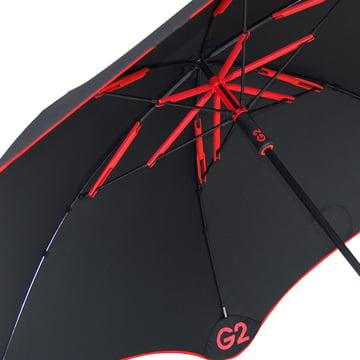 Parapluie Golf_G2 vue de dessous, rouge, représentation détaillée