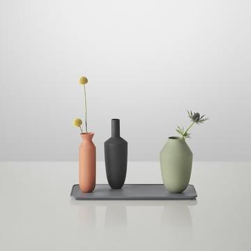 Muuto - Balance Vase (ensemble de 3 vases), Block Colour avec des fleurs