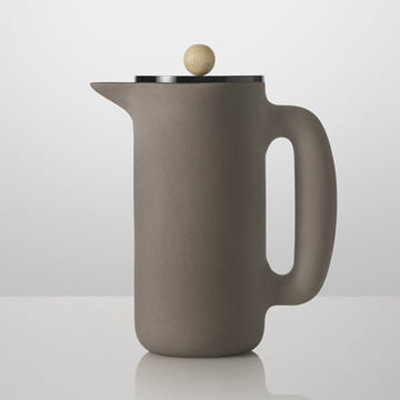 Muuto - Cafetière Push, gris pierre, poignée en bois
