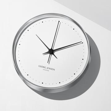 Georg Jensen - Henning Koppel horloge murale Ø 30 cm, acier inoxydable / blanc