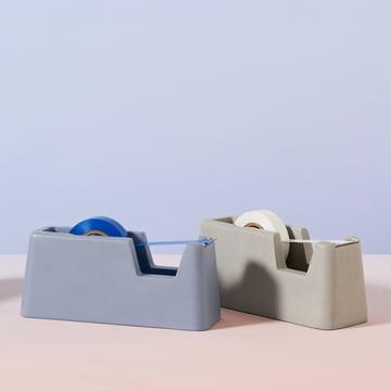 Areaware - Distributeur de ruban adhésif Concrete petit, bleu, gris
