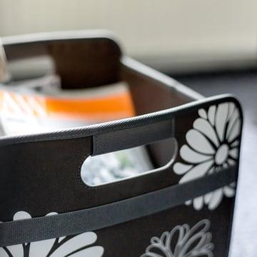meori - Boîte pliante classique 30litres, noir avec fleurs