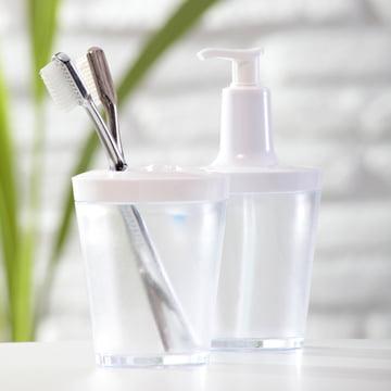 Distributeur de savon Flow de Koziol en transparent