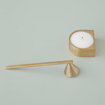 Block Candle Holder et éteignoir à bougies en laiton