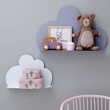La Cloud Shelf en petit modèle, blanc et grand modèle, bleu ciel de Bloomingville
